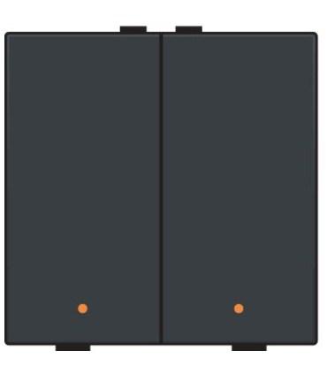 Tweevoudige lichtbediening met led, Bakelite-Look Piano Black Coated - 200-52002
