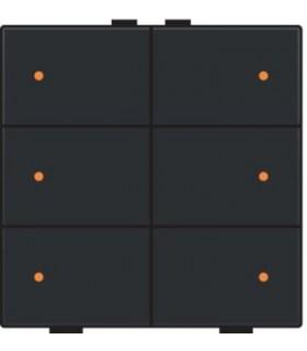 Zesvoudige lichtbediening met led, Bakelite-Look Piano Black Coated - 200-52006 - Niko Home Control