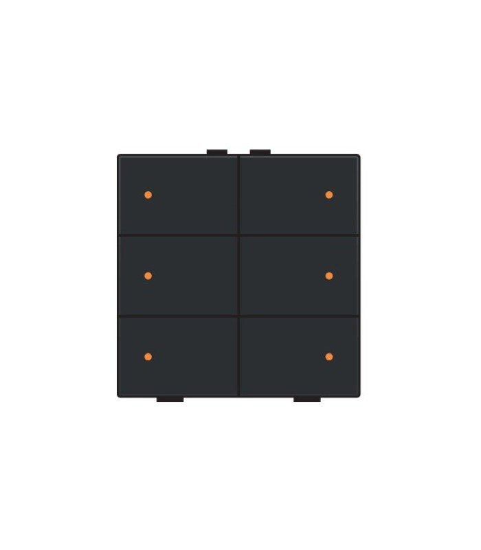 Zesvoudige lichtbediening met led, Bakelite-Look Piano Black Coated - 200-52006 - Niko Home Control
