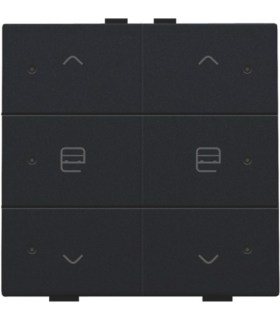 Two-fold motor control with LED, Black Coated - 161-52036 - Niko Home control